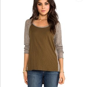 Revolve Michael Stars Scoop Neck Raglan Hi-Low Top